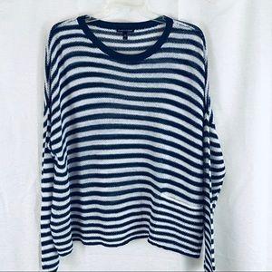 EILEEN FISHER Navy White Stripe Linen Sweater L
